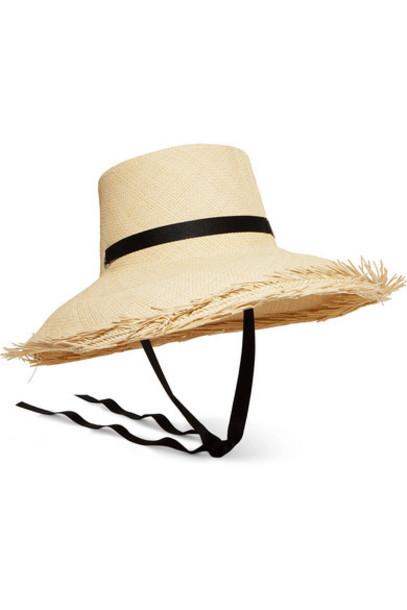 Sensi Studio - Brisa Frayed Grosgrain-trimmed Toquilla Straw Hat - Ivory