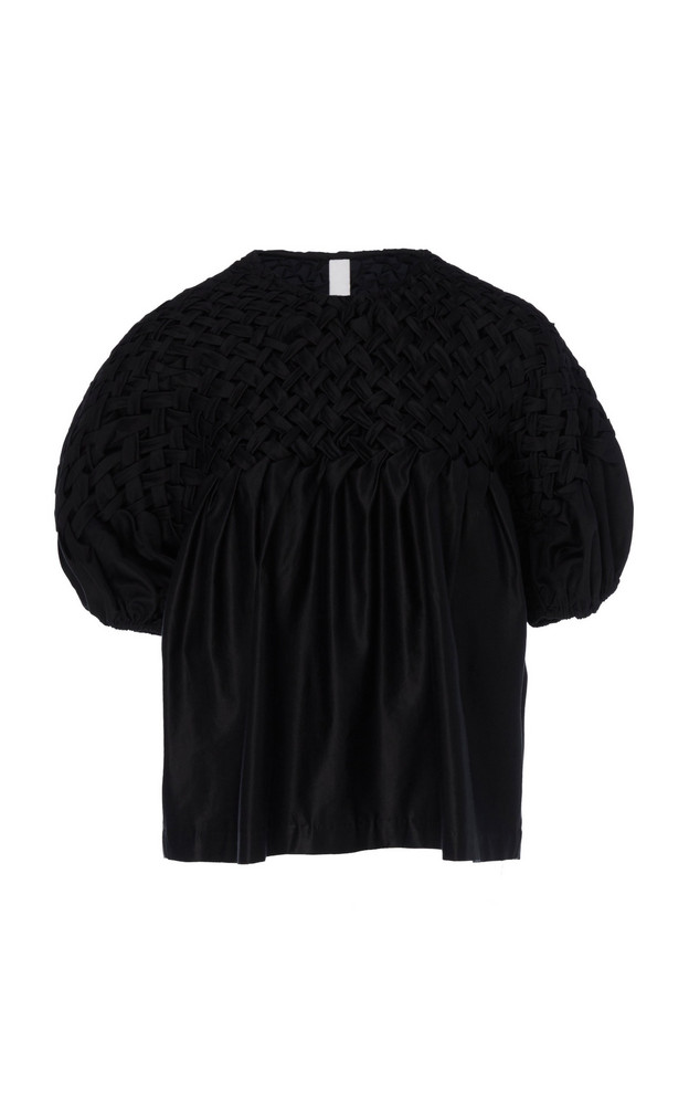 Merlette Hellebore Basket Smocked Blouse in black