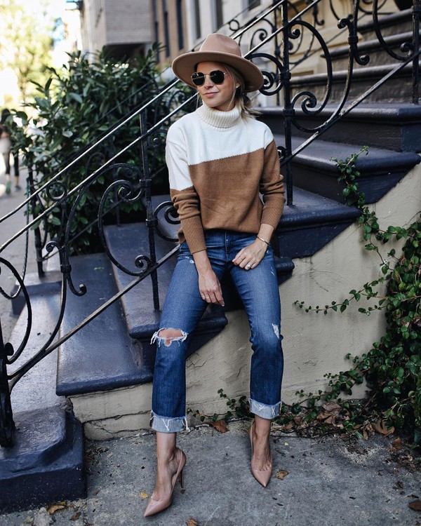 sweater turtleneck sweater ripped jeans pumps hat