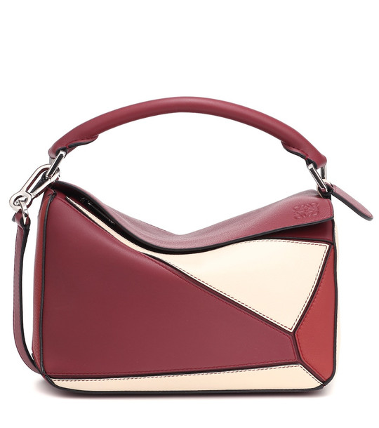 Loewe Puzzle Small leather shoulder bag in red