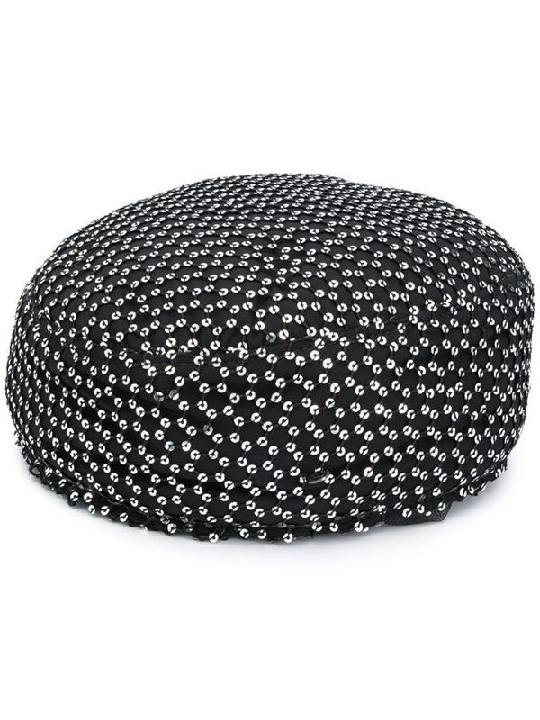 Maison Michel Sancha sequined pillbox hat in black