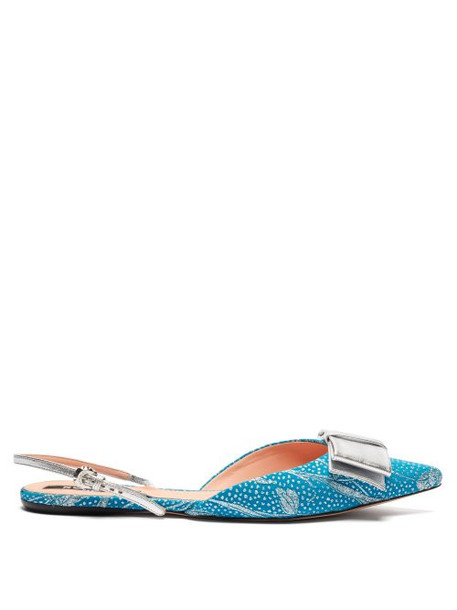Rochas - Bow Embellished Floral Brocade Slingback Flats - Womens - Blue Multi