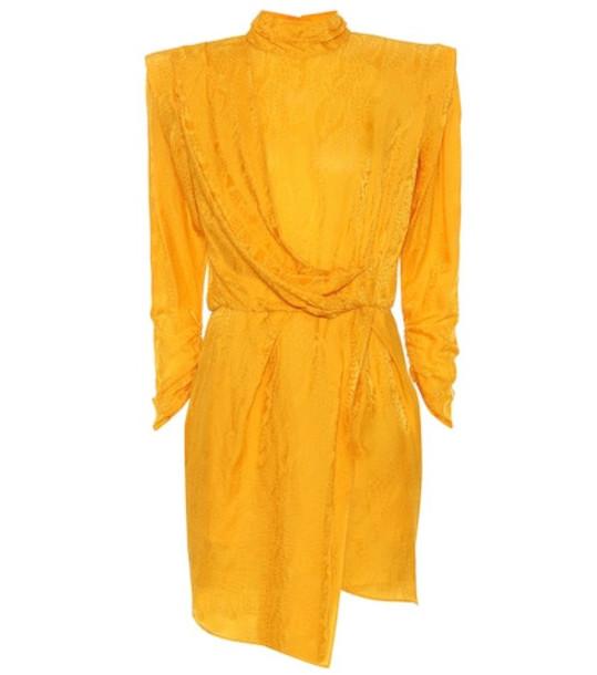 Dundas Satin jacquard minidress in yellow