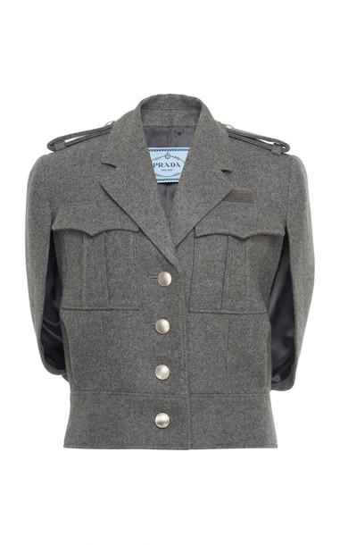 Prada Cape-Effect Wool-Bouclé Jacket Size: 36 in grey