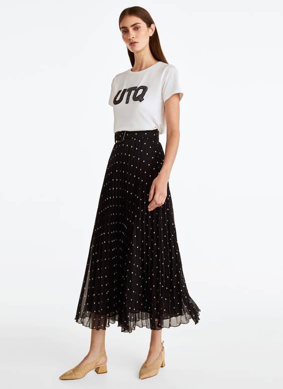Pleated polka dot skirt - - Uterqüe Spain