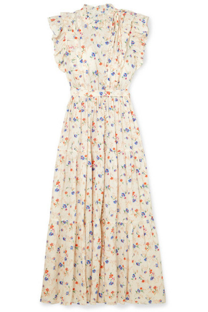 DÔEN - Carnation Ruffled Floral-print Swiss-dot Cotton-voile Maxi Dress - White