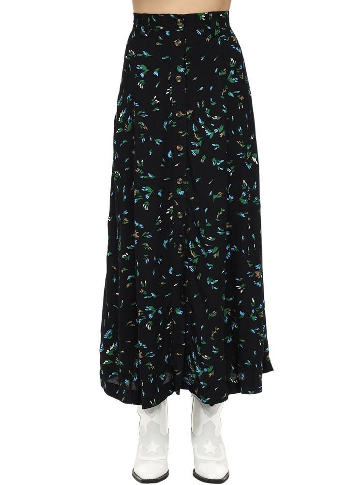GANNI Printed Viscose Crepe Midi Skirt in black / green