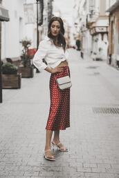 shoes,shoes and basics,blogger,shirt,skirt,bag,red skirt,spring outfits,white shirt