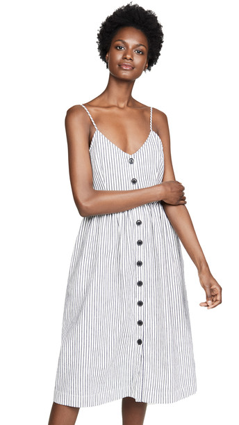 ATM Anthony Thomas Melillo Linen Cotton Striped Button Front Tank Dress in navy