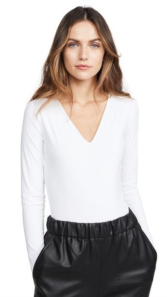 Wolford Long Sleeve V Neck Thong Bodysuit in white
