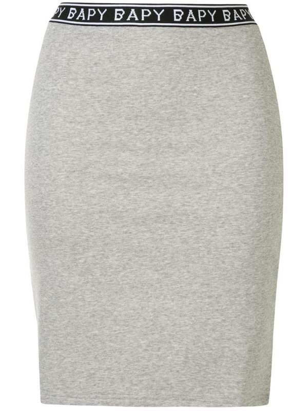 BAPY BY *A BATHING APE® logo-trim fitted skirt in grey