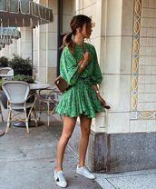 dress,mini dress,floral dress,long sleeve dress,white sneakers,bag