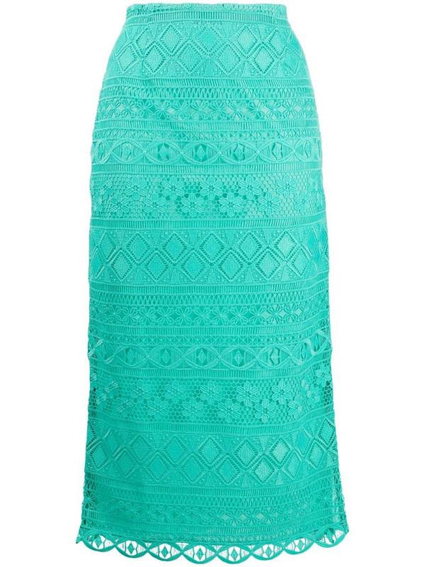 Vivetta embroidered midi skirt in green