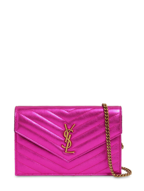 SAINT LAURENT Small Quilted Metallic Leather Bag in fuchsia