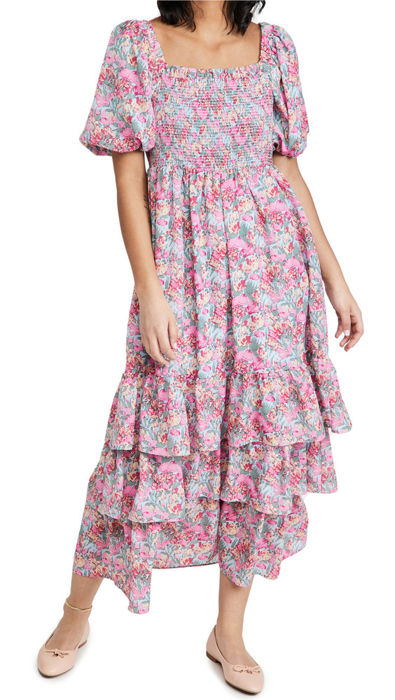 ENGLISH FACTORY Floral Print Maxi Dress in pink / multi