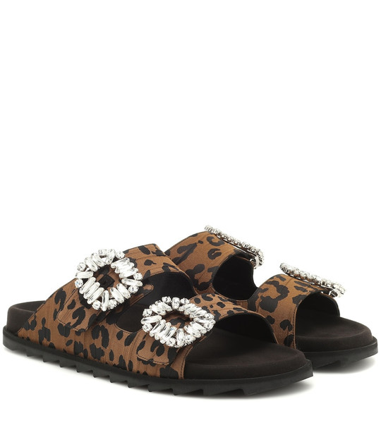 Roger Vivier Slidy Viv' embellished satin slides in brown
