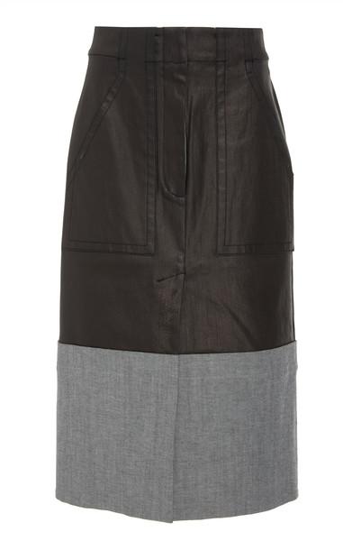 Tibi Coated Denim Cargo Pocket Skirt in black