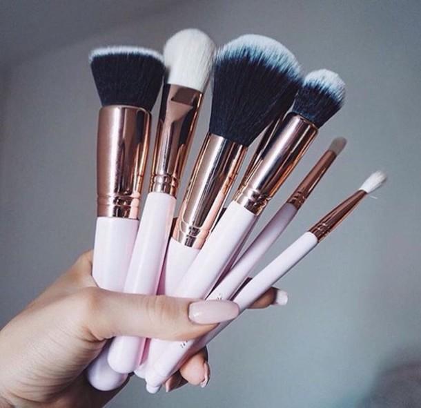 Up Makeup Brushes Gold Pink Black