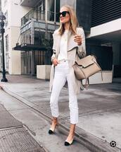 jeans,white jeans,cropped jeans,slingbacks,high waisted jeans,trench coat,white sweater,bag,black sunglasses