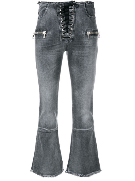 UNRAVEL PROJECT Lace-up cropped jeans in grey