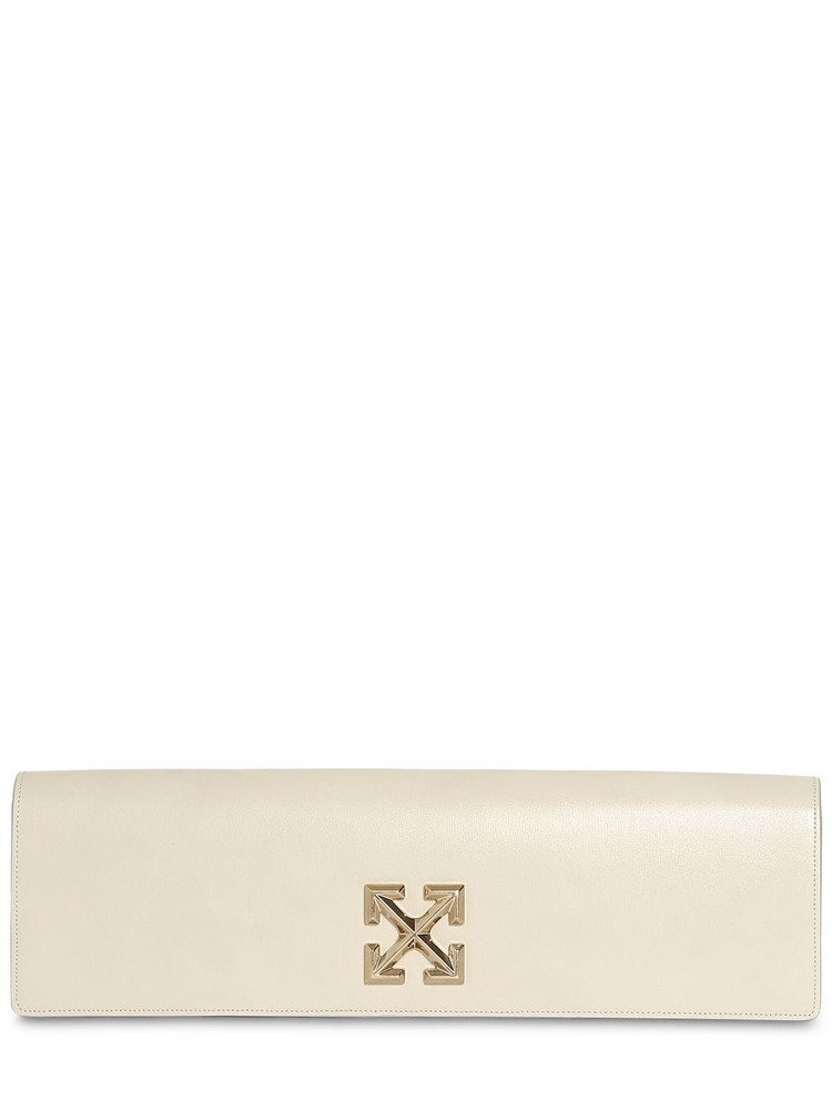 OFF-WHITE Jitney 2.2 Leather Clutch in grey