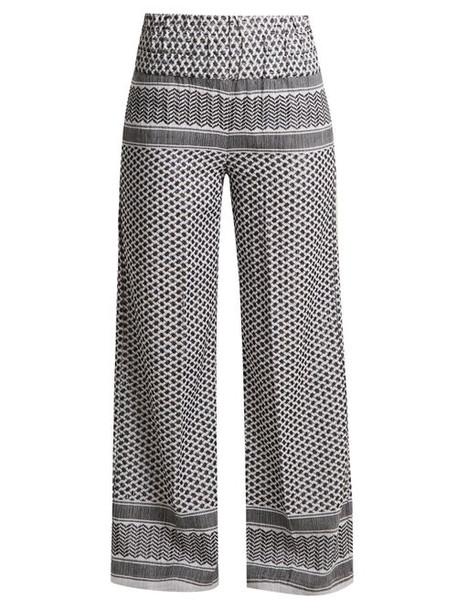 Cecilie Copenhagen - Wide Leg Scarf Jacquard Cotton Trousers - Womens - White Black