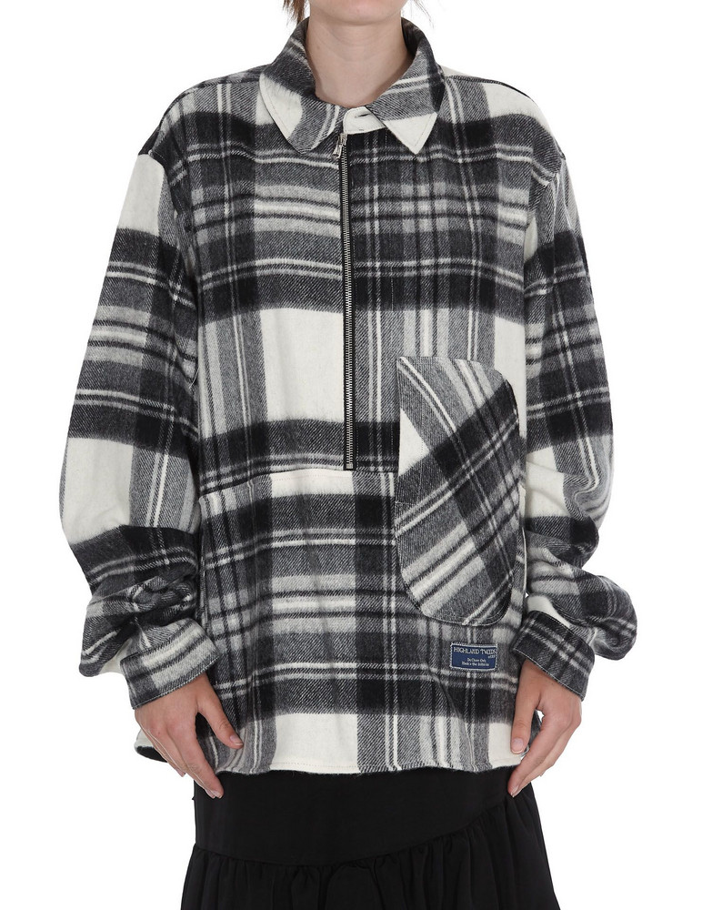 We11 Done Plaid Shirt in grey