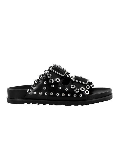 Ash Black Leather Sandal