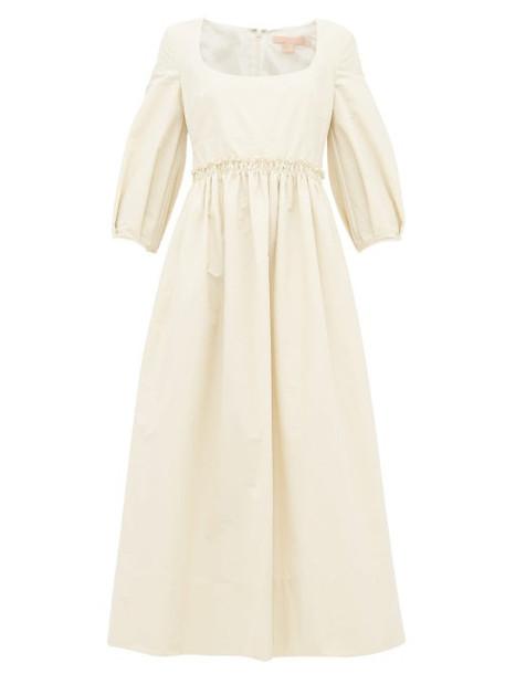 Brock Collection - Square Neck Cotton Blend Midi Dress - Womens - Cream