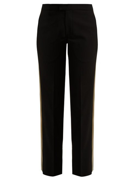 Wales Bonner - Mid Rise Tailored Wool Blend Trousers - Womens - Black Multi