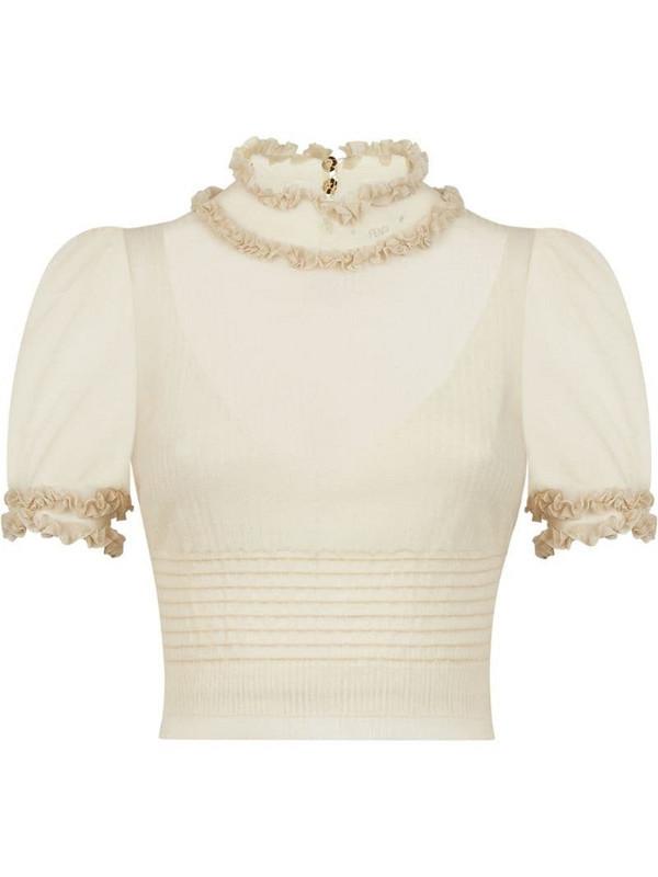 Fendi ruffle neck blouse in neutrals