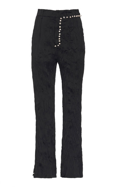 Peet Dullaert Crushed Crepe Flared Pants Size: 32 in black