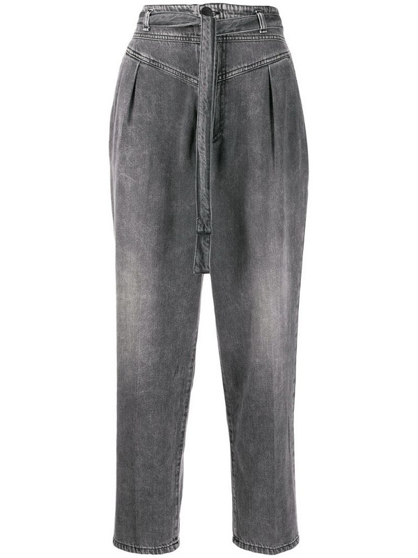 Pinko high-rise belted cropped jeans in grey