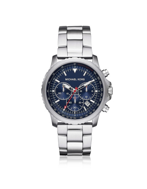 Michael Kors Theroux Stainless Steel Chronograph Watch in silver