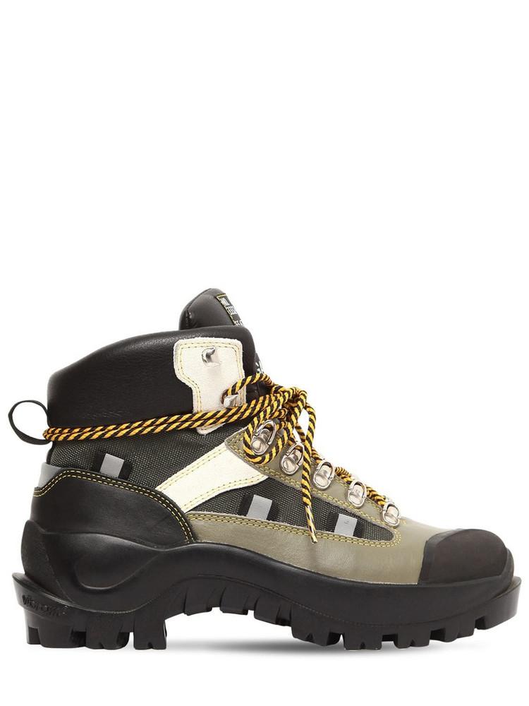 GANNI 40mm Bruna Leather Hiking Boots in green / beige