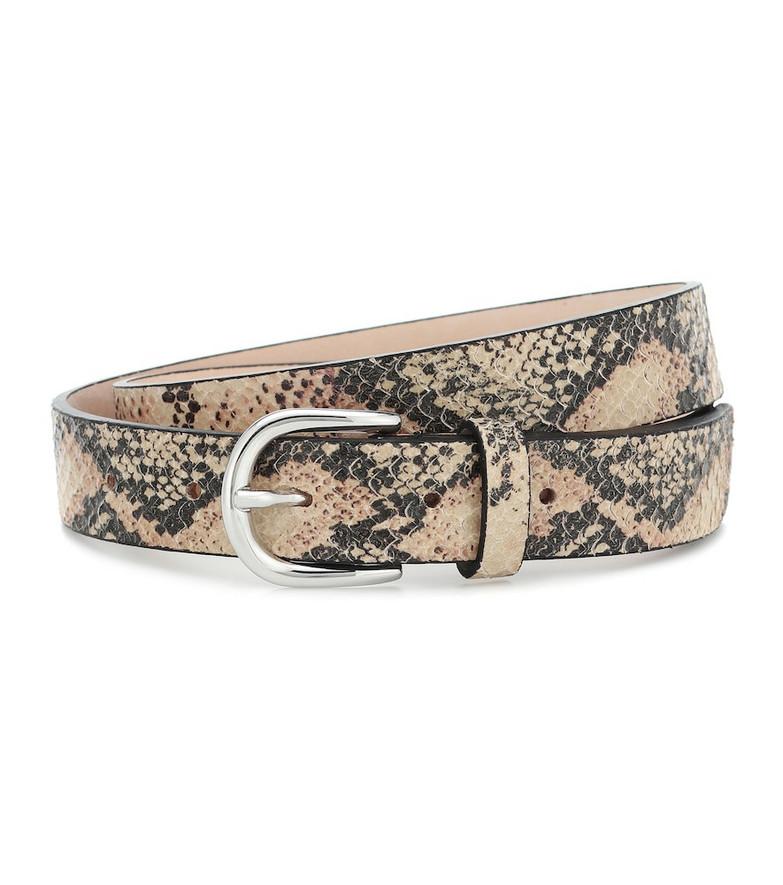 Isabel Marant Zap snake-effect leather belt in beige