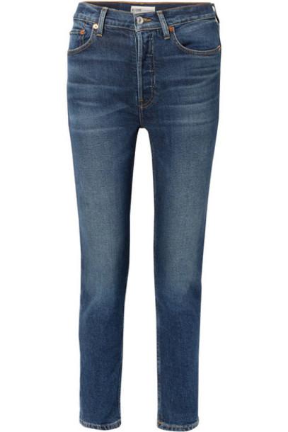 RE/DONE - Comfort Stretch High-rise Ankle Crop Skinny Jeans - Dark denim