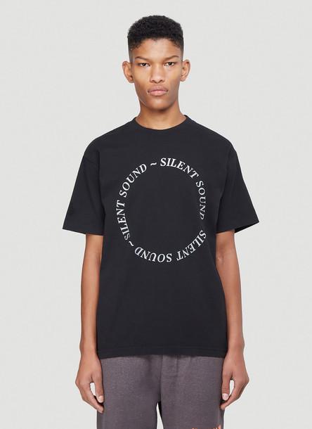 Silent Sound Logo Print T-Shirt in Black size XL