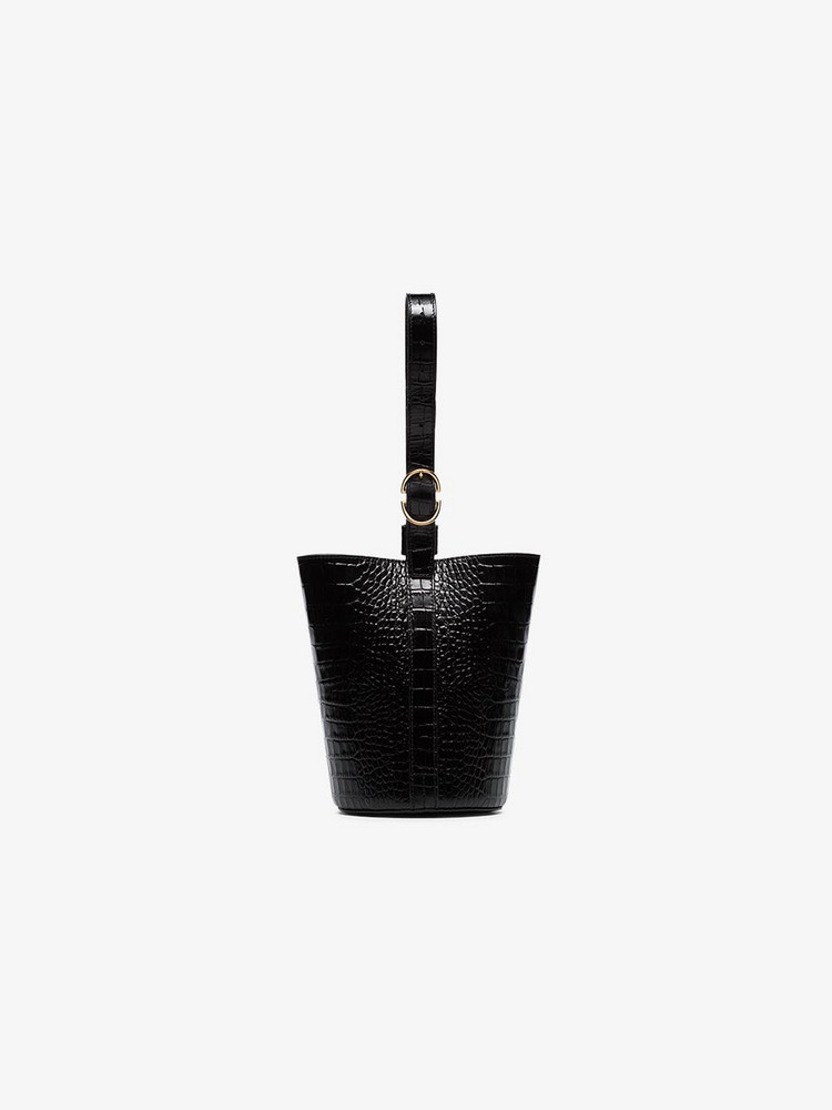 Trademark embossed leather bucket bag in black