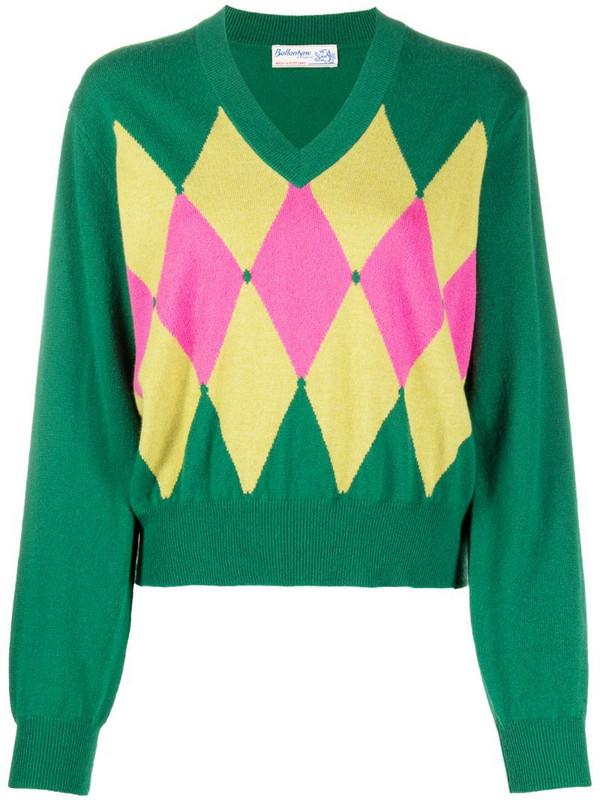 Ballantyne Argyle-detail jumper in green