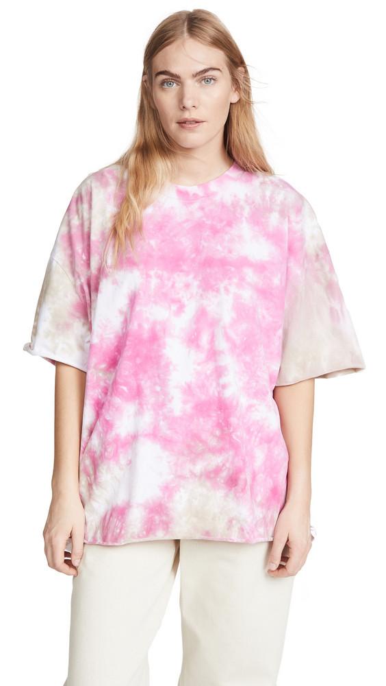 Natasha Zinko Tie Dye Tee with Open Back in pink / beige