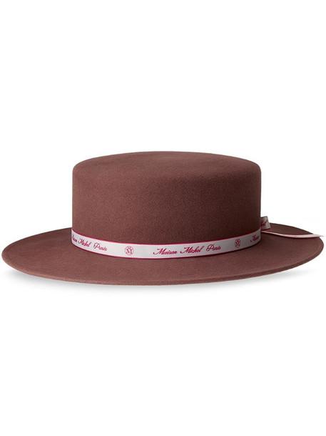 Maison Michel Kiki fedora hat in pink