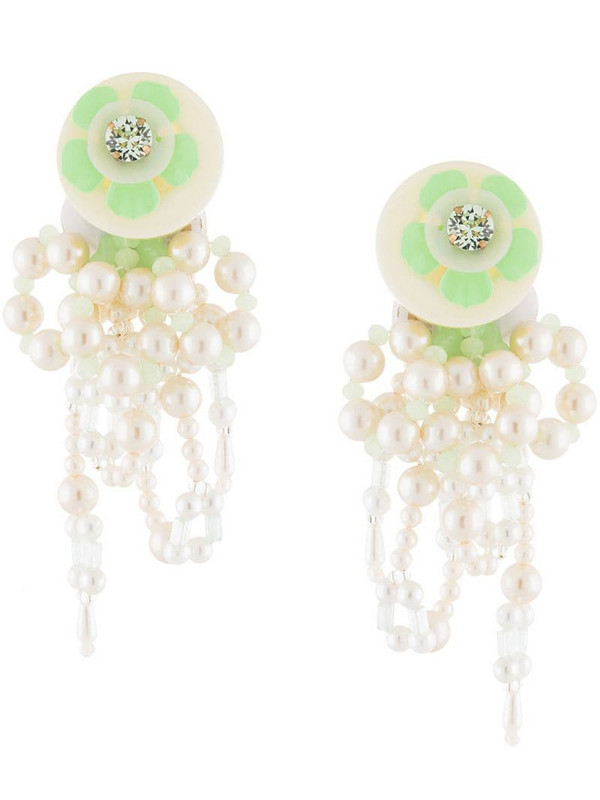 Biyan pearl embellished clip-on earrings in white
