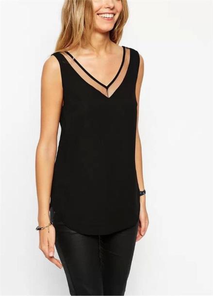 tank top casual loose black top vest blouse v neck chiffon sleeveless