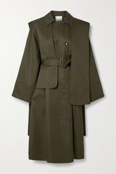 Tibi - Layered Double-breasted Woven Trench Coat - Army green