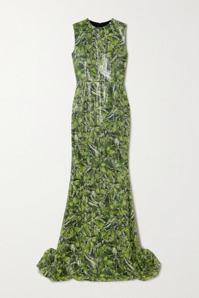 Halpern - Printed Sequined Crepe Gown - Green