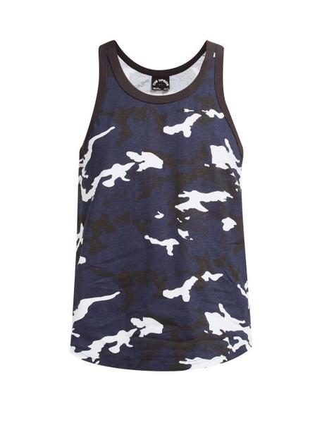 The Upside - Marine Camouflage Print Cotton Tank Top - Womens - Blue Print
