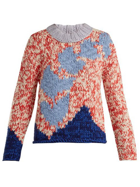 Burberry - Intarsia Knit Sweater - Womens - Red