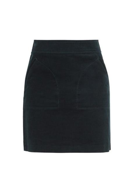 A.P.C. A.p.c. - Shayana Cotton Corduroy Mini Skirt - Womens - Dark Green