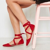 shoes,vintage,red,flats,comfy,strappy,ballet shoes
